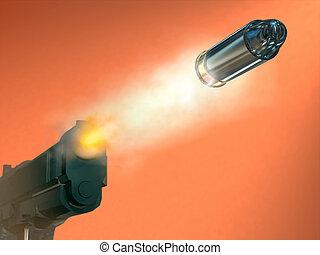 Handgun firing a bullett. Digital illustration.