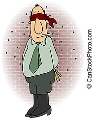 Firing Squad - This illustration depicts a blindfolded man...