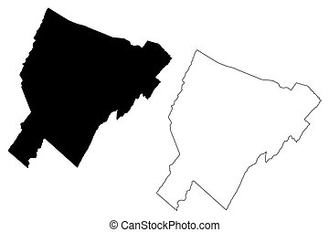 firkálás, virginia, nyugat, egyesült államok, megye, skicc, ábra, egyesült, usa, állam, amerika, vektor, us), belétek. s., bátor, térkép, (u.s.