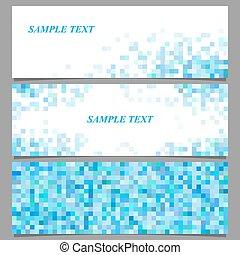 firkantet, abstrakt, sæt, skabelon, banner, pixel, mosaik