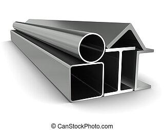 firkantet, bærebjælker, rør, metal, kanaler, rør, baggrund, hvid, vinkler