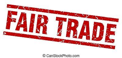 firkantet, grunge, messe, frimærke, handel, rød