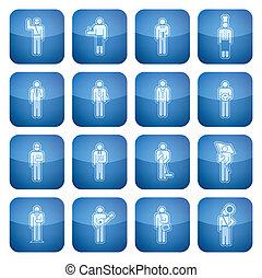 firkantet, iconerne, kobolt, 2, set:, erhverv