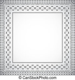 firkantet, mønster, ramme, -, vektor, etniske
