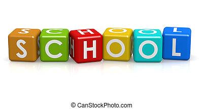 firkantet, terning, hos, skole, glose