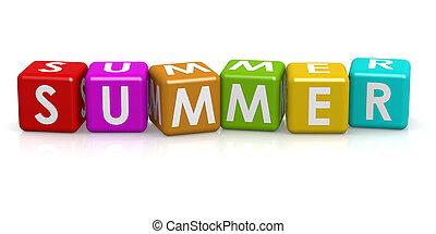 firkantet, terning, hos, sommer, glose