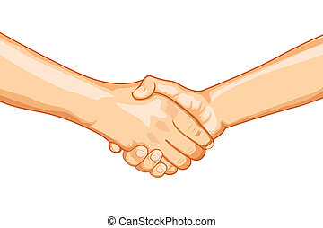 illustration of two male handshaking with each other on white background