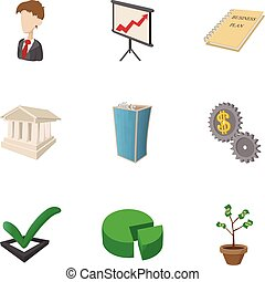 Firm icons set, cartoon style