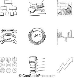 Firm icons set, hand drawn style