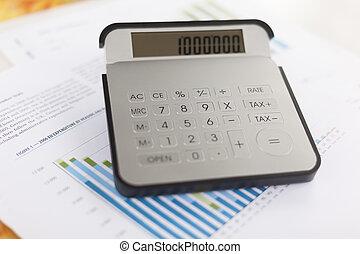 firma, analyse, -, bogholderi, rapport, hos, regnemaskine