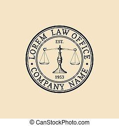 firma, badge., illustration., biuro, skalpy, sprawiedliwość, rocznik wina, adwokat, wektor, etykieta, logo, prawniczy, adwokat, prawo
