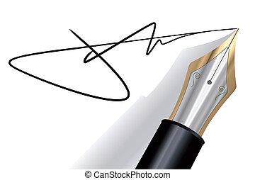 firma, con, un, pluma estilográfica
