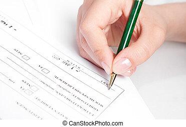 firma, contract., mano femenina
