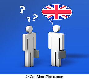 firma, engelsk, snakke