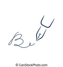 firma, estilo, carta, pluma, b, forma, icono, strokes., cepillo
