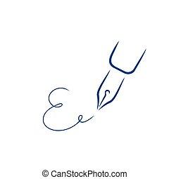 firma, estilo, carta, pluma, forma, e, icono, strokes., cepillo