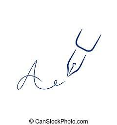 firma, estilo, carta, pluma, forma, icono, strokes., cepillo
