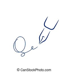firma, estilo, carta, pluma, forma, strokes., icono, q, cepillo