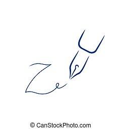 firma, estilo, carta, pluma, forma, z, icono, strokes., cepillo