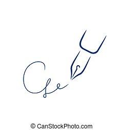 firma, estilo, carta, pluma, g, forma, icono, strokes., cepillo