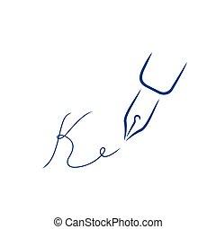 firma, estilo, k, carta, pluma, forma, icono, strokes., cepillo
