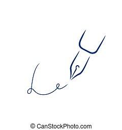 firma, estilo, letra l, pluma, forma, icono, strokes., cepillo