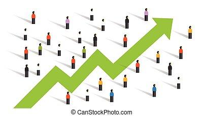 firma, flok, folk, omkring, oppe, sammen, kort, forhøje, pil, investering, økonomi