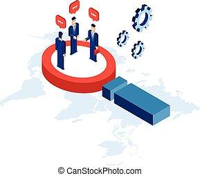firma, forretningsmand, kommunikation, isometric, succesrige, begreb, forskning, kompagniskab