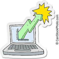 firma, graph, mærkaten, cartoon, computer, laptop