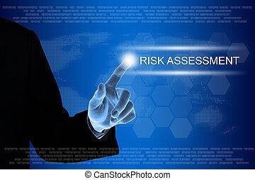 firma, hånd, klikke, risiker assessment, knap, på, berøring skærm