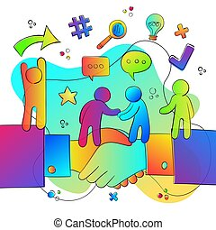 firma, hånd ryst, folk, hold, begreb