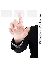 firma, hånd, skubbe en knap, på, en, berøring skærm, grænseflade