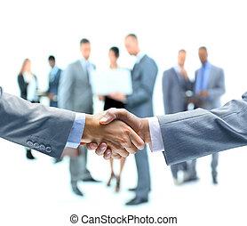 firma, håndslag, og, folk branche