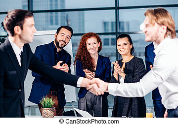 firma, handshake., firma, håndslag, og, folk branche, begreb