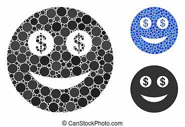 firma, ikon, omkring, mosaik, prikker, smiley