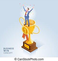 firma, illustrations., sejre, begrebsmæssig, konstruktion, trofæ, top, forretningsmand, cup., beliggende, vektor