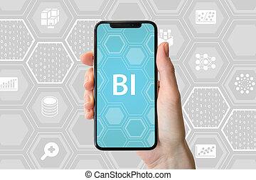 firma, intelligens, concept., hold ræk, moderne, smartphone, uden for, neutral, baggrund, hos, icons.