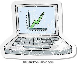firma, kriseramte, graph, laptop, cartoon, computer, retro, mærkaten