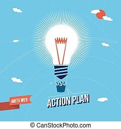 firma, markedsføring, stor ide, begreb, illustration