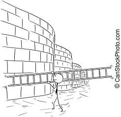 firma, mur, stige, bær, klatre, cartoon, mand