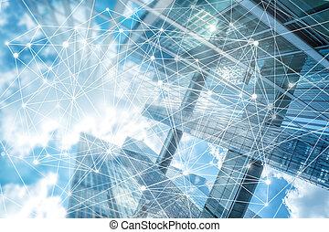 firma, netværk, connection., abstrakt, baggrund