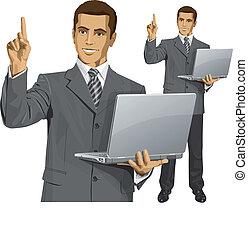 firma, noget, vektor, finger, show, mand