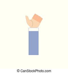 firma, oppe, viser, isoleret, hånd, baggrund., tommelfingre, menneske, tøjsæt, hvid, gestus