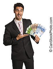 firma, penge, /, holde, euro, mand