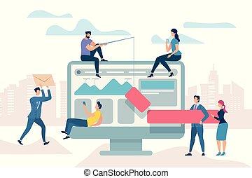 firma, proces, møde, arbejde, optimisation, forbedre