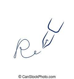 firma, r, estilo, carta, pluma, forma, icono, strokes., cepillo