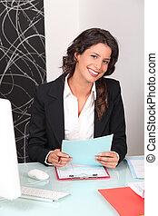 firma, recrutamento, mulher