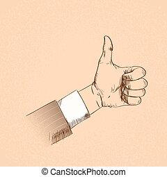 firma, retro, oppe, gestus, tommelfinger, mand, skitse, hånd