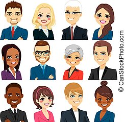 firma, samling, folk, avatar, sæt