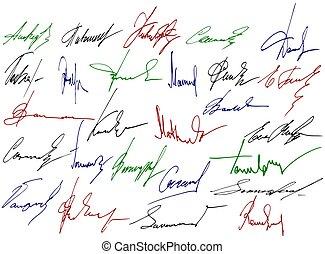 firma, scrittura, segni